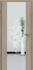 Holzglastür CPL Natural Touch Pinie Silvergrey mit Sandstrahlmotiv SAND 39