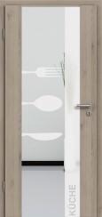 Holzglastür CPL Natural Touch Pinie Silvergrey mit Sandstrahlmotiv SAND 52