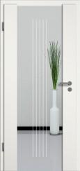 Holzglastür weiss mit Sandstrahlmotiv SAND 3