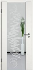 Holzglastür weiss mit Sandstrahlmotiv SAND 37