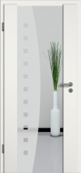 Holzglastür weiss mit Sandstrahlmotiv SAND 9
