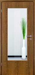 Tür Echtholz furniert Eiche rustikal mit Sandstrahlmotiv SAND 3