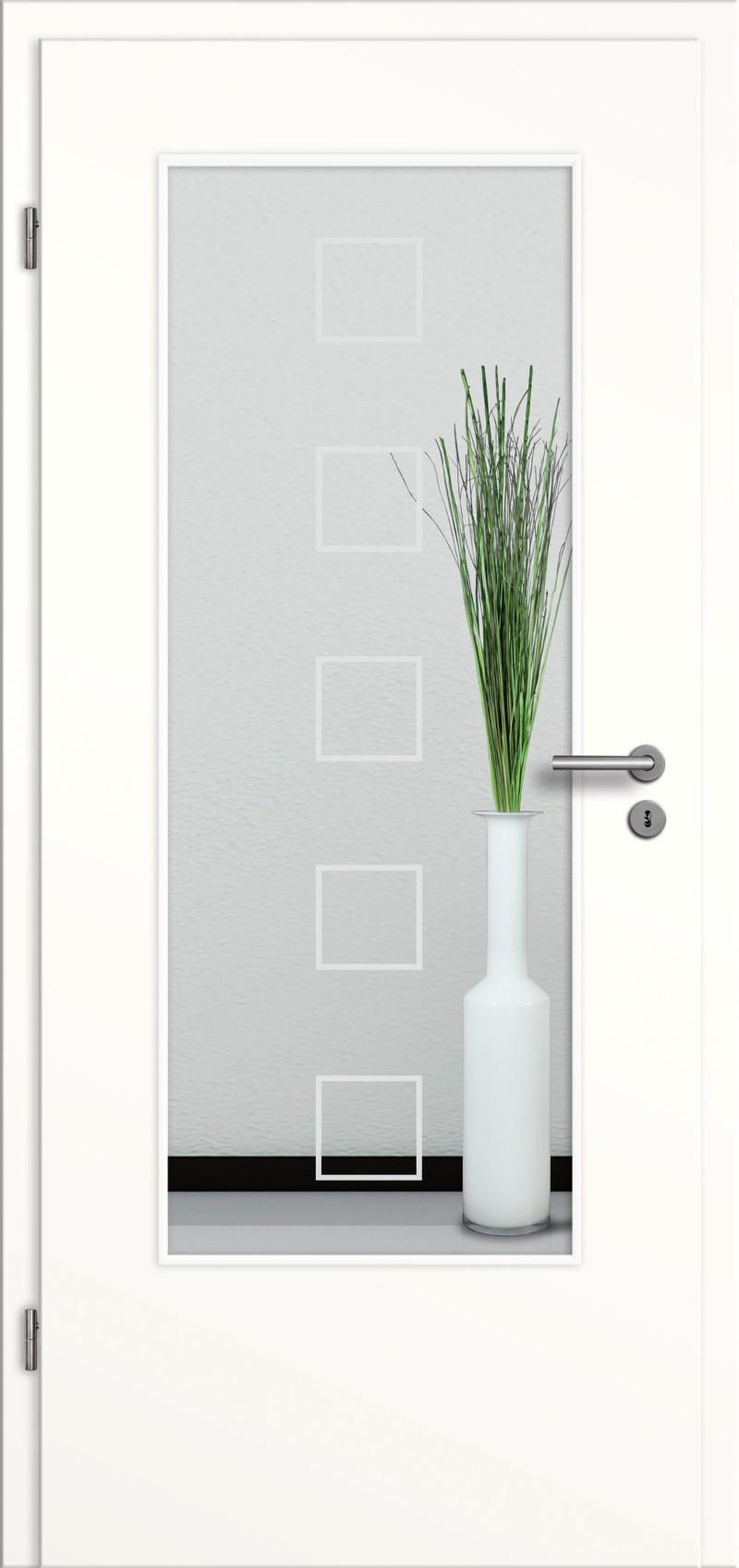 t r designkante mit glasmotiv sand 12 wei lack tuer und. Black Bedroom Furniture Sets. Home Design Ideas