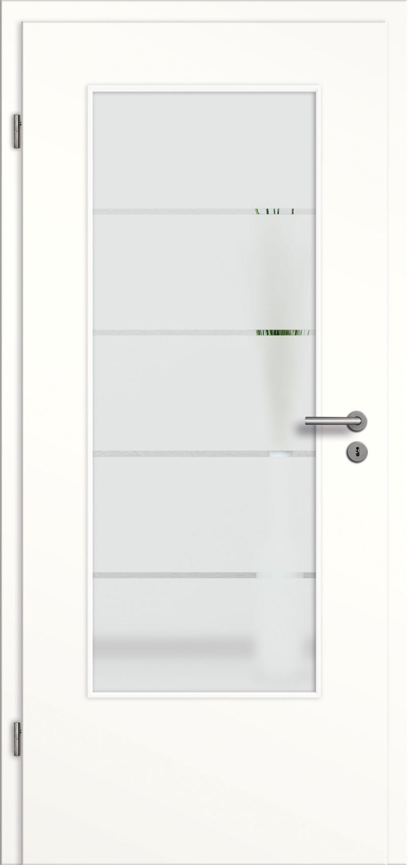 Tür Weis Glas ~ Bild zeigt Tür, Türzarge und Türgriff Die Türzarge und der