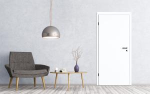 Wohnumgebnung mit extraweisser Tür (ähnlich RAL 9003 signalweiss)