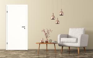 Wohnumgebnung mit weisser Tür (ähnlich RAL 9010 reinweiss)